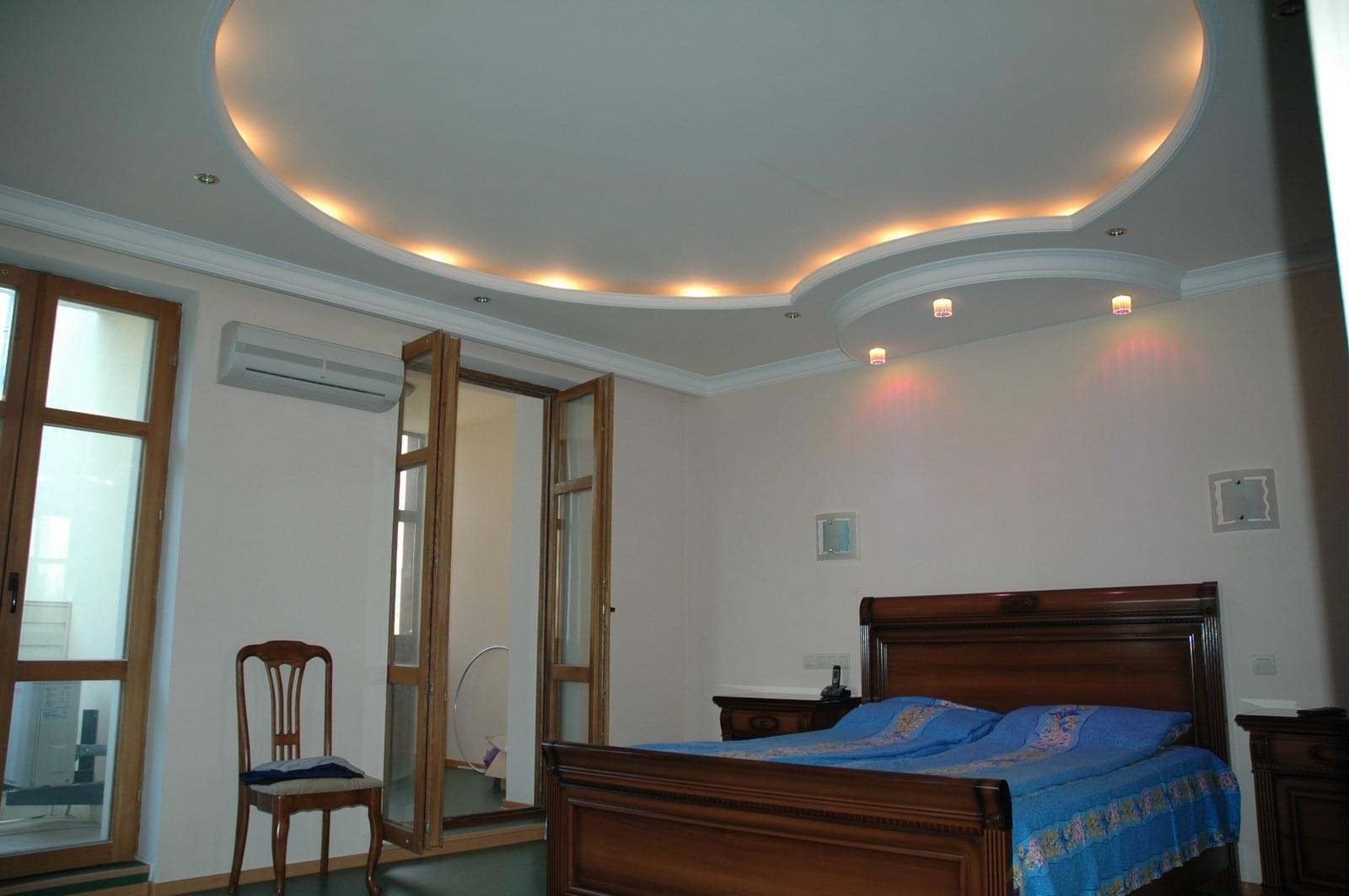 Потолок с гипсокартона фото спальня своими руками